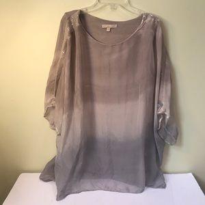 ProntoModa Giusi Silk Flowy Blouse & T-shirt Top